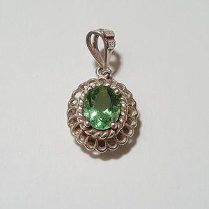BA Davic 925 Sterling Silver Green Peridot Pendant